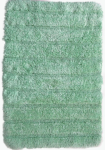 Stripe Cotton Bath Mat Light Green-Bath Mat-Rugs 4 Less