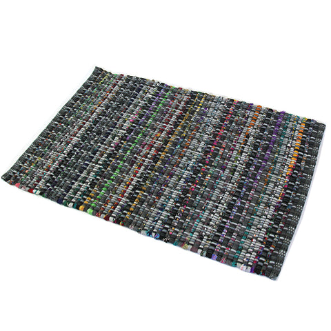 Chindi Charcoal Large Mat in Size 60cm x 90cm-Rugs 4 Less