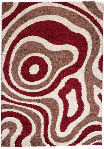 Cabana 891 Taupe-Red Rug 160x230cm-Modern Rug-Rugs 4 Less