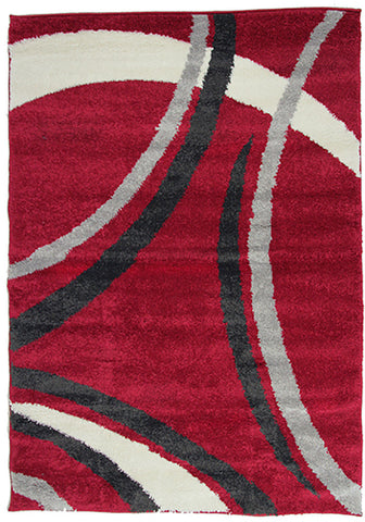 Diva 2163 Red Modern Rug in Size 160cm x 230cm-Rugs 4 Less