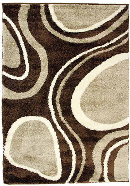Diva 2164 Brown Modern Rug in Size 160cm x 230cm-Rugs 4 Less
