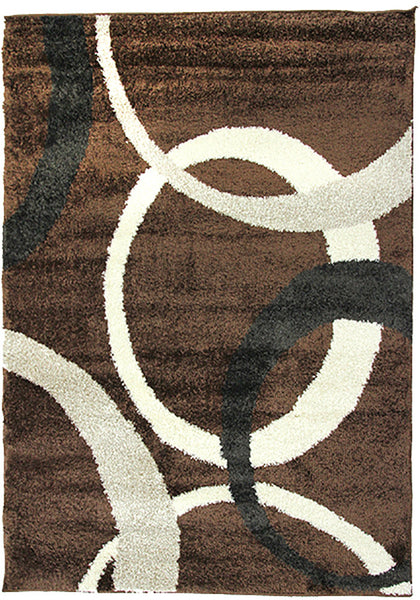 Diva 2233 Brown Modern Rug in Size 160cm x 230cm-Rugs 4 Less
