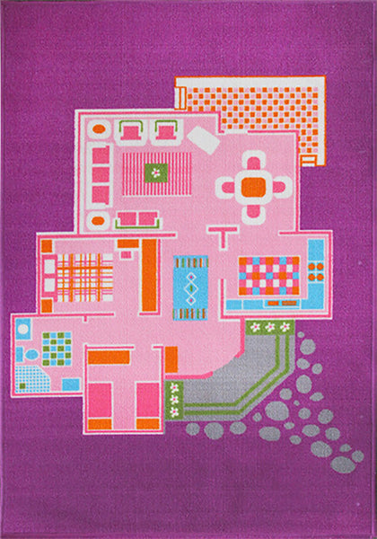 Doll House Play Rug in Size 110cm x 160cm-Rugs 4 Less