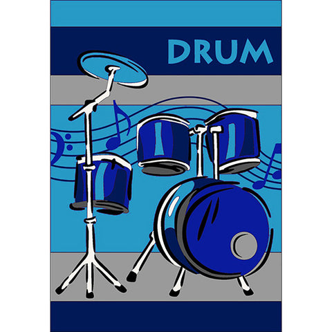 Drums Small Rug Blue in Size 90cm x 130cm-Rugs 4 Less