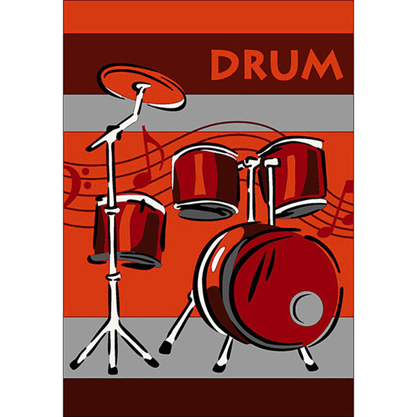 Drums Small Rug Red in Size 90cm x 130cm-Rugs 4 Less