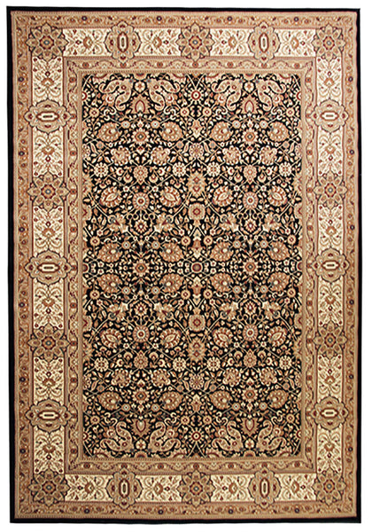 Elegance 1339 Black Small Traditional Rug in Size 120cm x 170cm-Rugs 4 Less