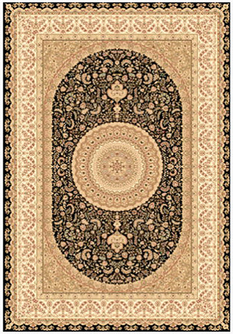 Elegance 1340 Black Small Traditional Rug in Size 120cm x 170cm-Rugs 4 Less