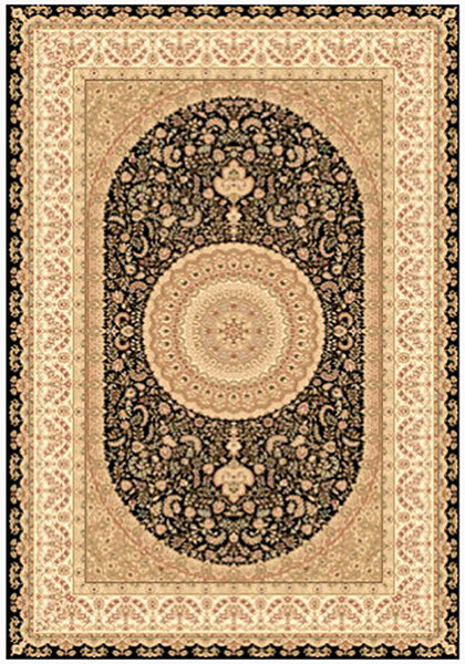 Elegance 1340 Black Large Traditional Rug in Size 200cm x 290cm-Rugs 4 Less
