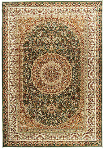 Elegance 1340 Green Small Traditional Rug in Size 120cm x 170cm-Rugs 4 Less