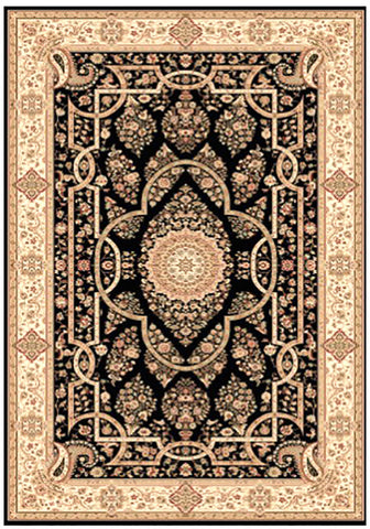 Elegance 1341 Black Small Traditional Rug in Size 120cm x 170cm-Rugs 4 Less