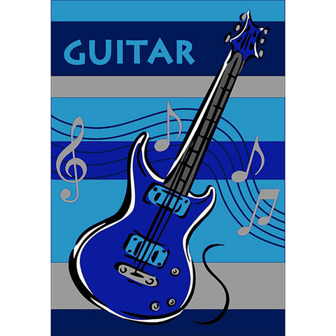 Guitar Rug Blue in Size 110cm x 160cm-Rugs 4 Less