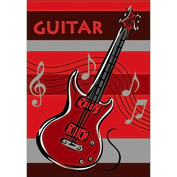 Guitar Small Rug Red in Size 90cm x 130cm-Rugs 4 Less
