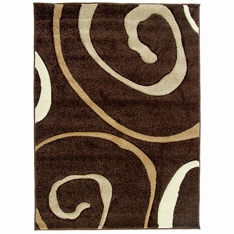 Monte-Carlo 8590A Dark Brown Small Modern Rug in Size 120cm x 160cm-Rugs 4 Less