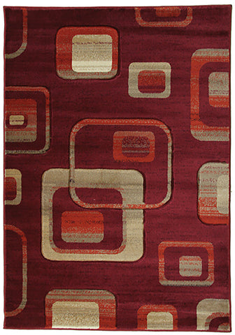 Motion-Plus 4328 Red Rug 160x230cm-Modern Rug-Rugs 4 Less