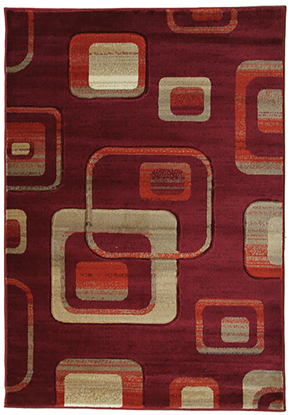 Motion 4328 Red Large Mat in Size 80cm x 130cm-Rugs 4 Less