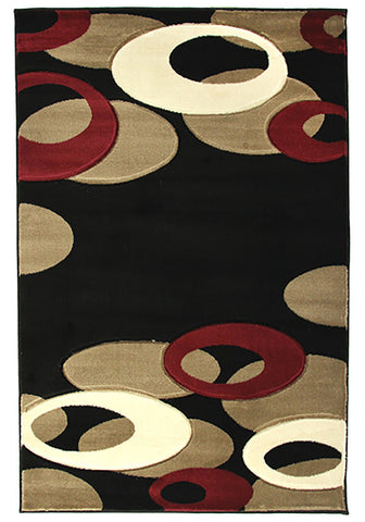 Motion 8232 Black Large Mat 80x130cm-Large Modern Mat-Rugs 4 Less