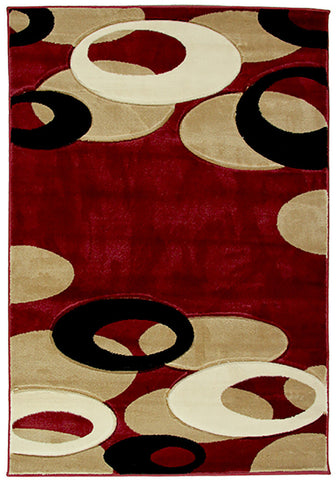 Motion-Plus 8232 Red Small Modern Rug in Size 120cm x 160cm-Rugs 4 Less