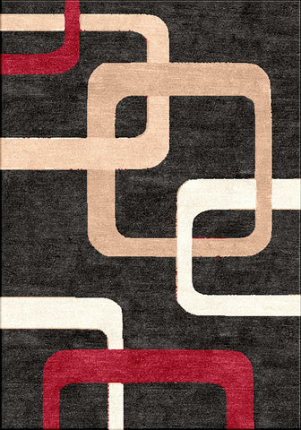 Motion 9020 Black Extra Large Rug 240x330cm-Extra Large Modern Rug-Rugs 4 Less