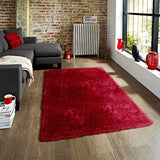 Pluto Red Small Shag Rug in Size 110cm x 160cm-Rugs 4 Less