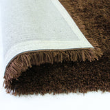 Pluto Brown Small Shag Rug in Size 110cm x 160cm-Rugs 4 Less