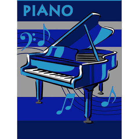 Piano Small Rug Blue 90x130cm-Theme Rug-Rugs 4 Less