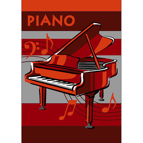 Piano Rug Red 110x160cm-Theme Rug-Rugs 4 Less