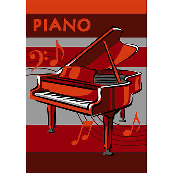 Piano Small Rug Red in Size 90cm x 130cm-Rugs 4 Less