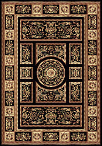 Residence 9706 Black Large Traditional Rug in Size 200cm x 290cm