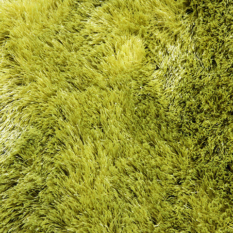 Satin Lime Green Large Shag Mat in Size 70cm x 130cm