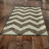 Style-7 Taupe Chevron Large Rug in Size 200cm x 290cm-Rugs 4 Less
