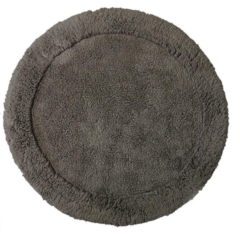 Cotton Round Bath Mat Charcoal in Size Round 70cm-Rugs 4 Less