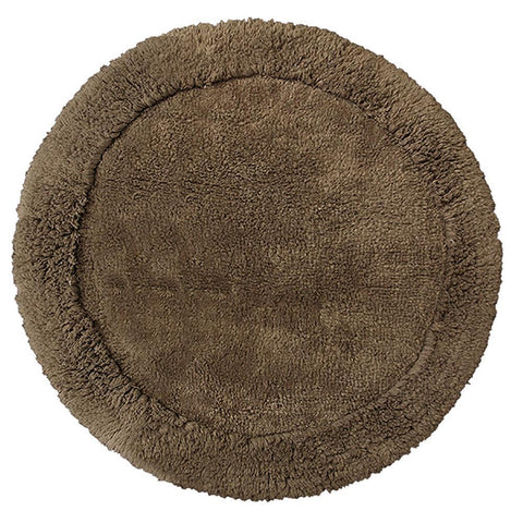 Cotton Round Bath Mat Brown in Size Round 70cm-Rugs 4 Less