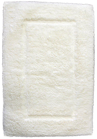 Luxury Border Cotton Bath Mat Cream-Bath Mat-Rugs 4 Less