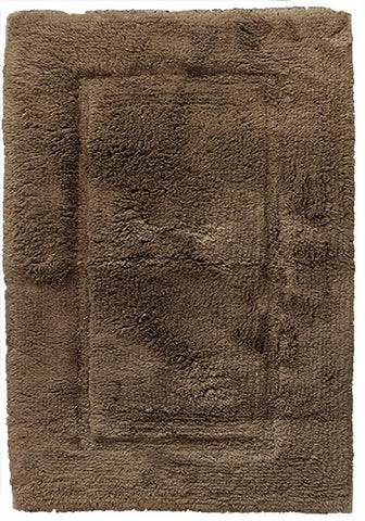 Luxury Border Cotton Bath Mat Brown in Size 50cm x 80cm-Rugs 4 Less