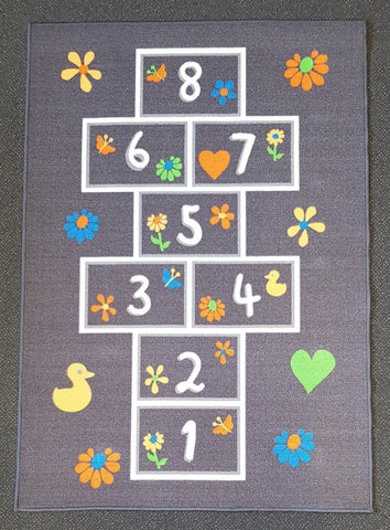 Hopscotch Mat in Size 110cm x 160cm-Rugs 4 Less