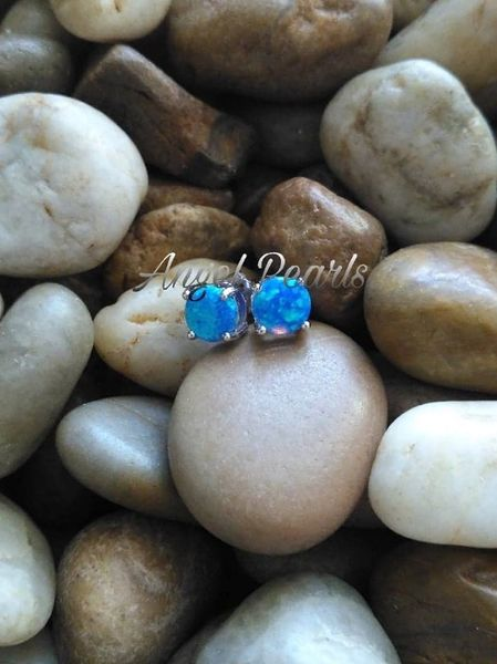 SS Blue Opal Earrings