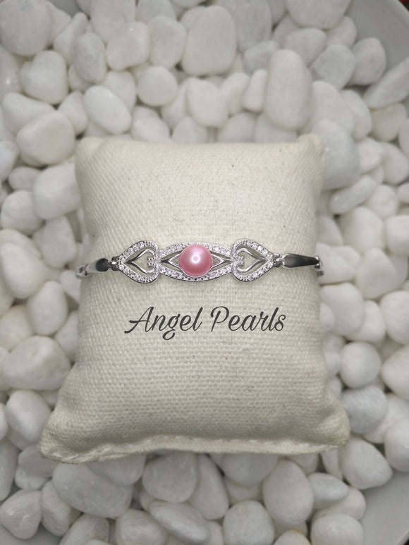 SS Heart Two Heart Bracelet