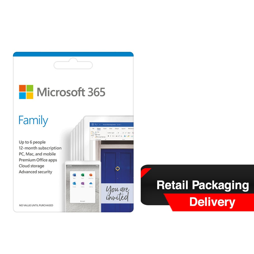 Microsoft 365 Family Pocket Version (Retail Packaging, Delivery)