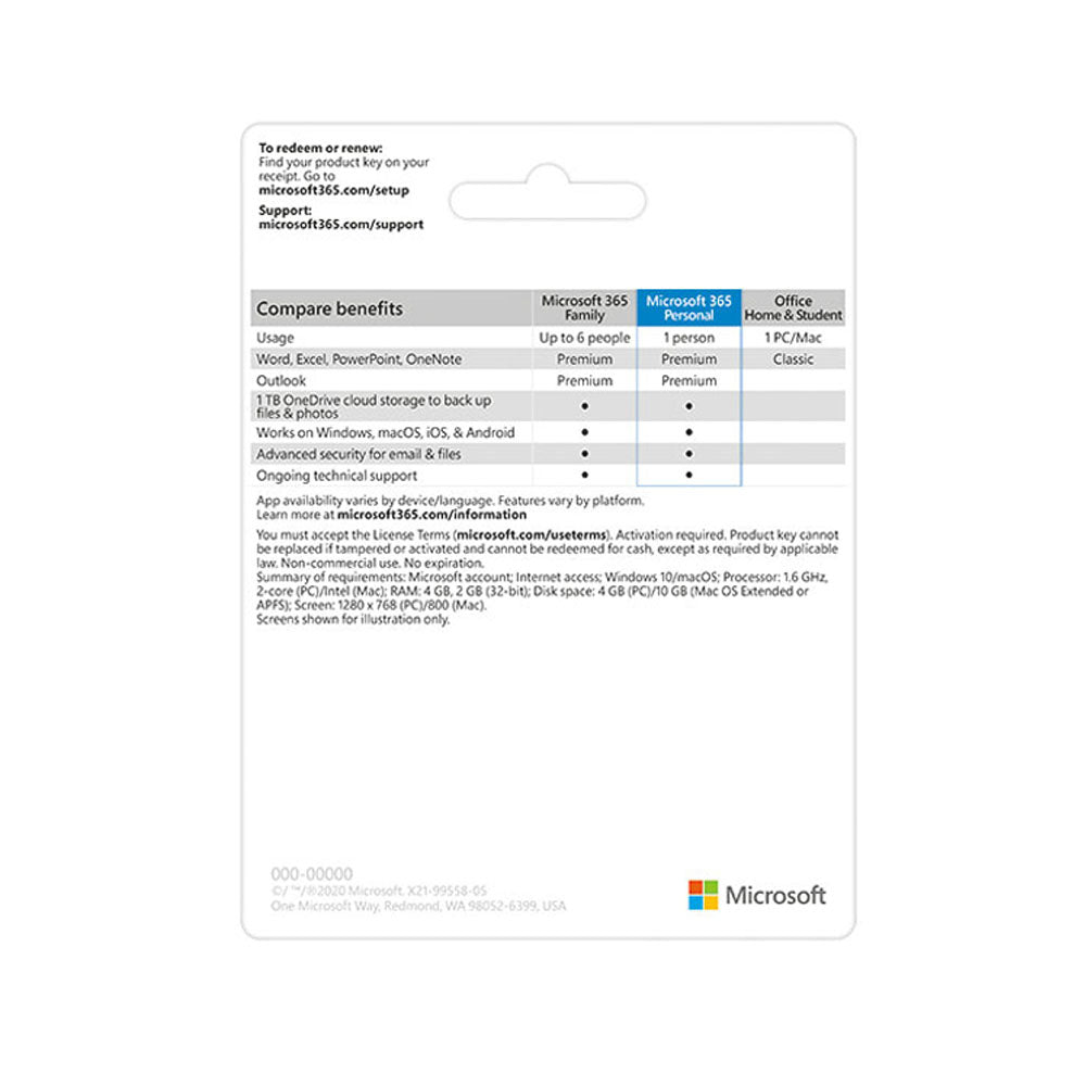 Microsoft 365 Personal Pocket Version (Retail Packaging, Delivery)