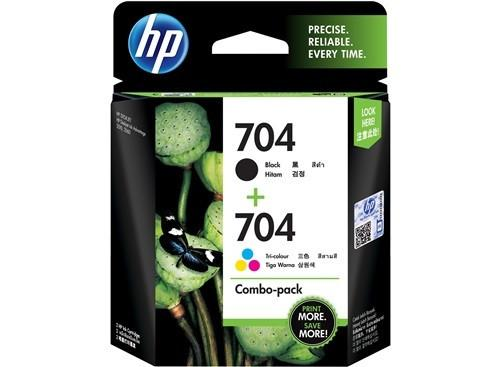 HP  (704) F6V33AA Black + Tri-Color Combo Pack Ink Cartridge