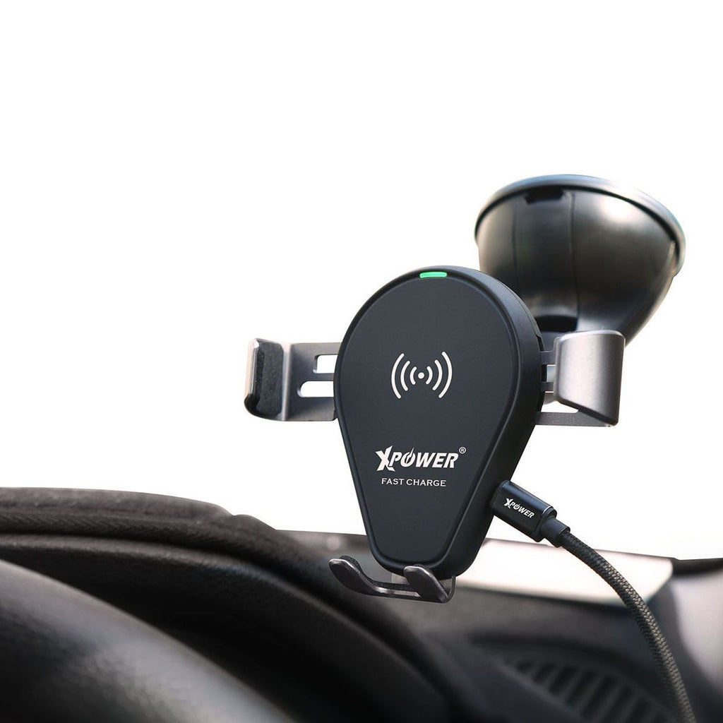 Xpower 2 in 1 Fast Charge Wireless Charging Car Mount Holder (XP-CMW-BK)
