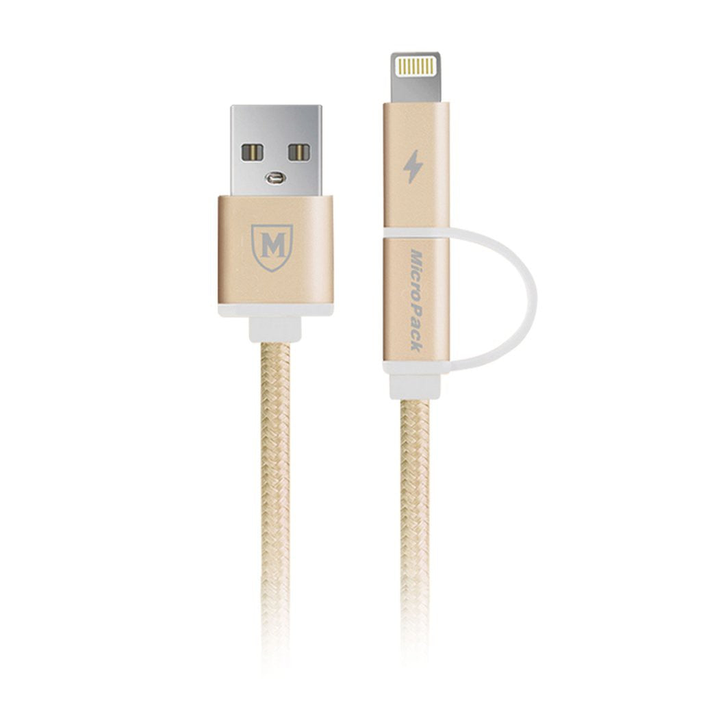 Micropack Braided MC-31 2.1A USB 2-in-1 1m Cable (Gold, Rose.Gold)
