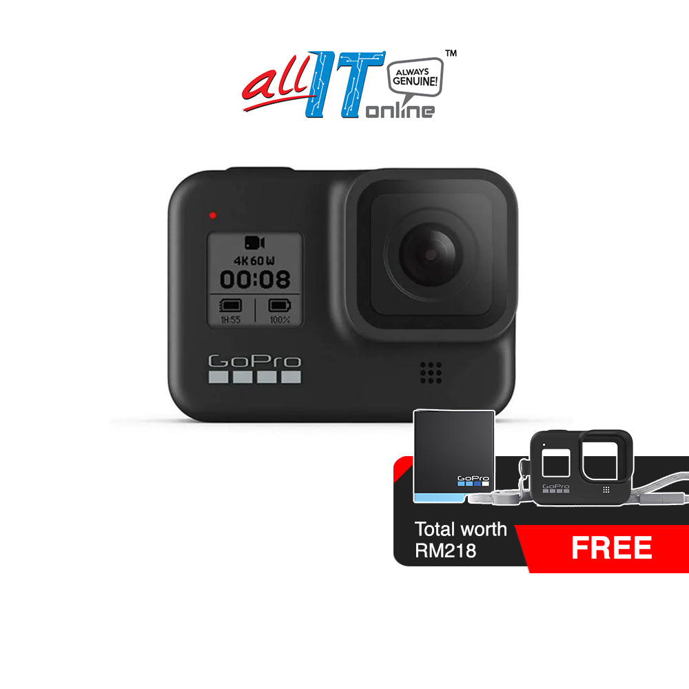 GoPro HERO 8 Black Action Camera (Free GoPro Rechargeable Battery, GoPro Sleeve + Lanyard (Black) worth RM218) (63rd Merdeka Sale)
