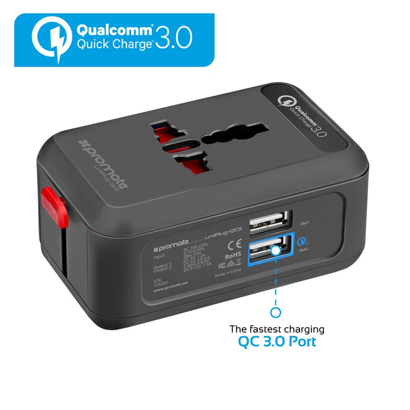 Promate UniPlug-QC3 Universal Travel Adaptor with Qualcomm Quick Charge 3.0 Dual USB Port