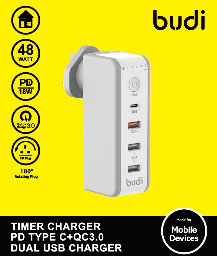 Budi USB 2ports + 1port QC3.0 + 1port Type-C W/Timer Wall Charger