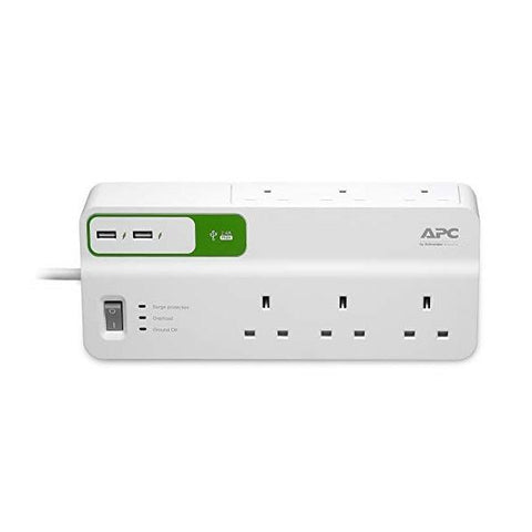 APC Essential SurgeArrest 6 outlets with 5V, 2.4A 2 port USB charger, 230V UK PM6U-UK - White (Single unit/Twin Pack)