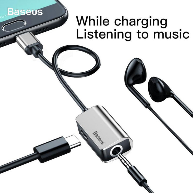 Baseus L40 Type-C to 3.5mm Earphone Converter AUX Audio Adapter Fast Charge 12CM with Microphone - Black