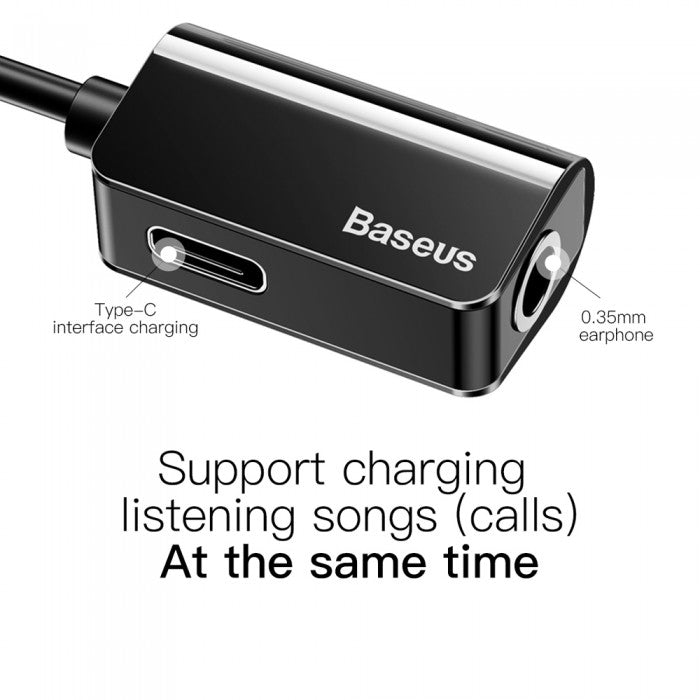 Baseus L40 Type-C to 3.5mm Earphone Converter AUX Audio Adapter Fast Charge 12CM with Microphone - Black (12.12 Christmas Sale)
