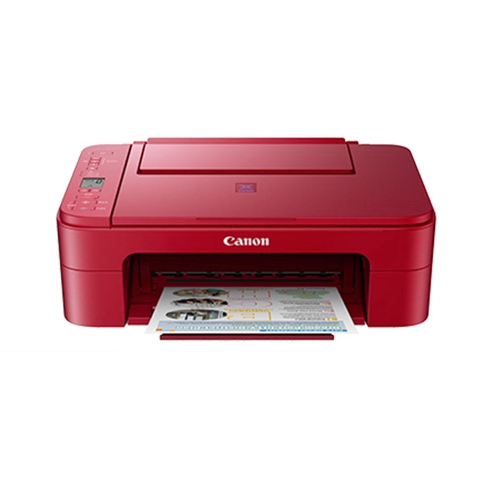 Canon E3370 Pixma Wireless All-in-One Printer (Black / Red) New Replacement for Canon E3170 (Free Canon Calculator)