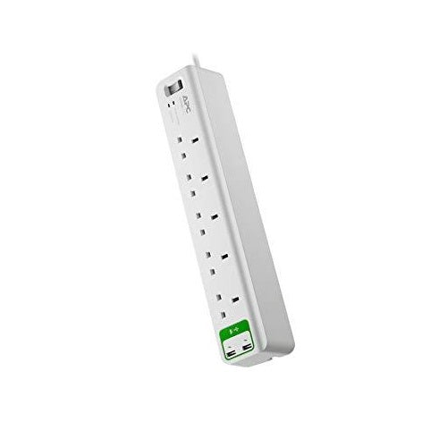 APC Essential SurgeArrest 5 outlets with 5V, 2.4A 2 port USB Charger 230V UK PM5U-UK - White (Single Unit/Twin Pack)
